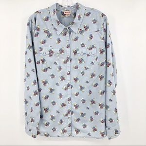 Mossimo Floral Button Down Shirt Pearl Snap Blue
